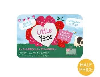 Yeo Valley little yeos  strawberry & raspberry yogurt 6x45g