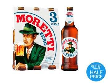 Birra Moretti zero alcohol free beer 3x330ml